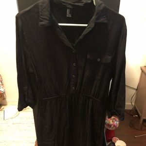Black half button up tunic with cinched waist